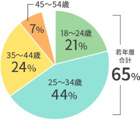 ユーザー:年齢の割合